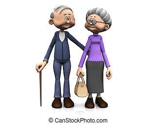 spotprent, bejaarden, paar.