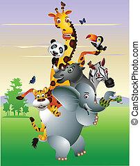 spotprent, dier, afrikaan, wild