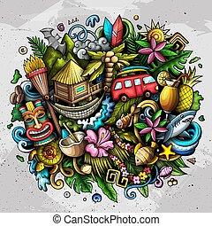 spotprent, doodle, getrokken, hand, hawaii, illustration.