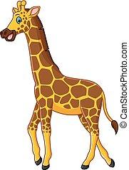 spotprent, giraffe, schattig