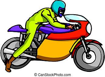 spotprent, motorfiets, vector