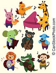 spotprent, pictogram, dier, muziek