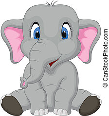 spotprent, schattig, zittende , elefant