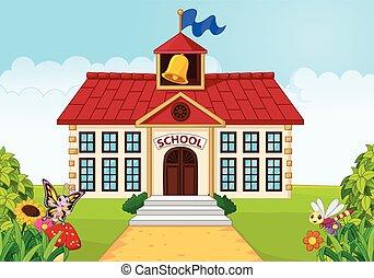 spotprent, school, vrijstaand, gebouw