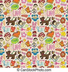 spotprent, seamless, schattig, pattern(vecto