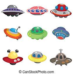 spotprent, set, spaceship, ufo, pictogram