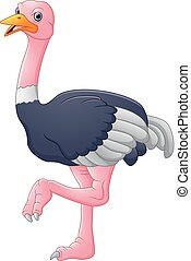 spotprent, struisvogel, schattig