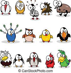 spotprent, verzameling, vogels