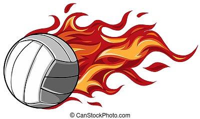 spotprent, volleyball bal, het vlammen, vector, ontwerp, illustratie