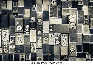 sprekers, muur, ouderwetse , stijl, muziek, monochroom