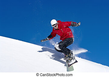 springt, diep, blauwe , door, snowboarder, hemel, lucht