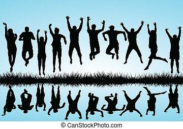 springt, groep, jongeren