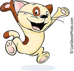 springt, -, kat, vrolijk, vect, vrolijke