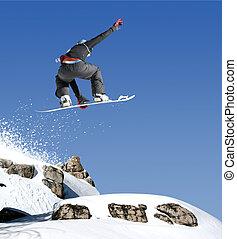 springt, snowboarder