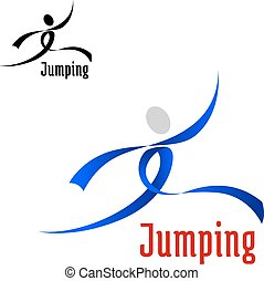 springt, sporten, atleet, abstract, embleem