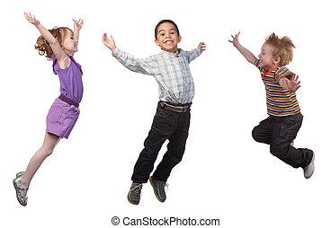 springt, vrolijke , kinderen