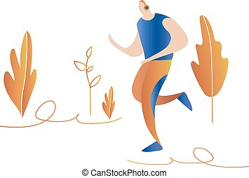 sprinter., natuur, rennende , men., mannelijke , spotprent