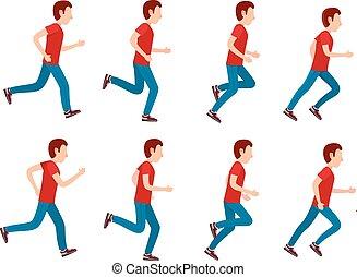 sprite, set., rennende , animatie, 8, man, frame, loop.
