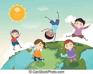 sprong, globe, geitjes, stickman