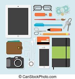spullen, elke, stylevector, dag, ontwerp, illustratie, plat
