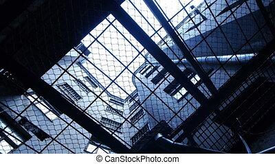 staaf, blik, -, door, prison., hd