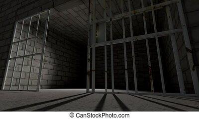 staaf, sluiting, gevangeniscel