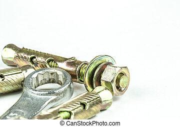 staal, bouten, isoleren, op, uitbreiding, achtergrond., moersleutel, afsluiten, witte , ankers