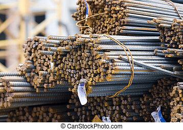 staal, close-up, bar, mismaakt, cross-sectional, hoog, roestige , rekbaar