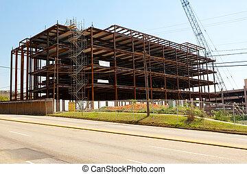staal, gebouw, stad, frame, bouwterrein, bouwsector