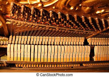 staal, gebruikt, tune., -, binnen, vilt, wond, koorden, staking, hamers, overeind, knoppen, piano