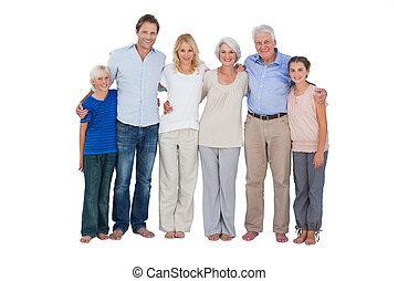 staand, achtergrond, tegen, witte familie