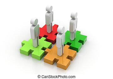 staand, anders, gekleurde, puzzelstukjes, zakenlieden
