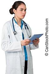 staand, arts, tablet pc, jonge