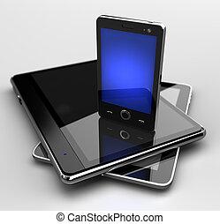 staand, beweeglijk, gloeiend, telefoon, stootkussens, digitale