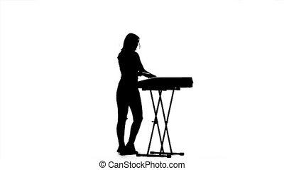 staand, clapping., langzaam dansen, silhouette., motie, piano, meisje