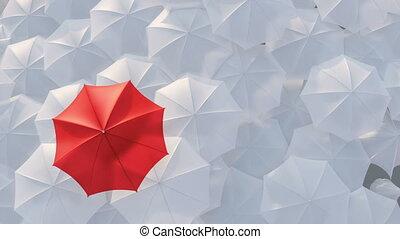 staand, concept, paraplu, menigte, massa, rood, uit