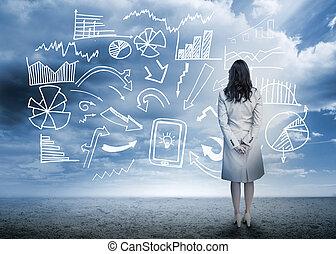 staand, flowchart, het kijken, data, businesswoman