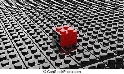 staand, lego, een, zwart rood, achtergrond, stremming buiten
