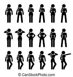 staand, poses., vrouw, houdingen, basis
