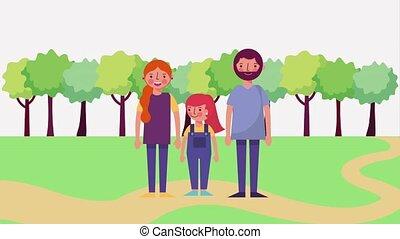 staand, schattig, park, straat, gezin