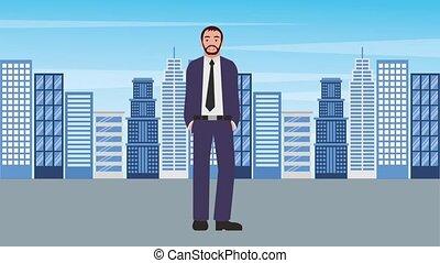 staand, stad, baard, achtergrond, zakenman