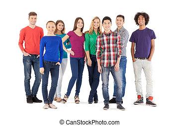 staand, volle, mensen, mensen., vrijstaand, jonge, vrolijk, terwijl, fototoestel, ongedwongen, lengte, witte , het glimlachen
