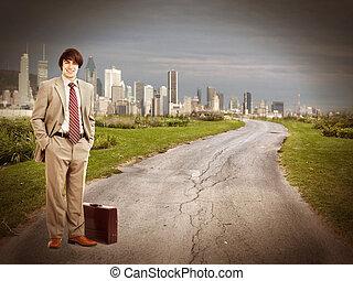 staand, zakenman, road.