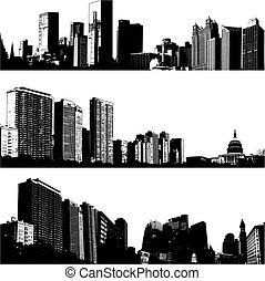 stad, 3, vector, skylines