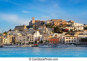 stad, blauwe , eivissa, middellandse zee, ibiza
