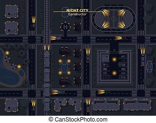 stad, bovenzijde, nacht, aanzicht