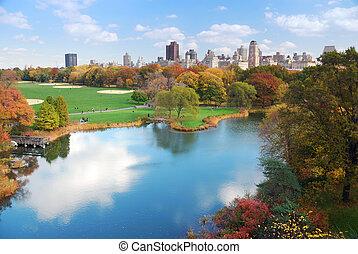 stad, centraal park, york, nieuw, manhattan