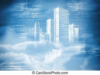 stad, digitaal, wolken, genereren, hologram