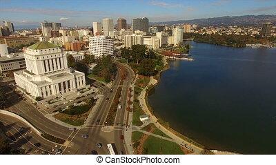 stad, francisco, merritt, san, meer, downtown, skyline, californië, oakland