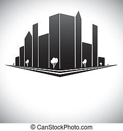 stad, gebouwen, straten, groot, schaduwen, black , bomen, downtown, grijze , witte , &, torens, wolkenkrabbers, moderne, w, skyline, b